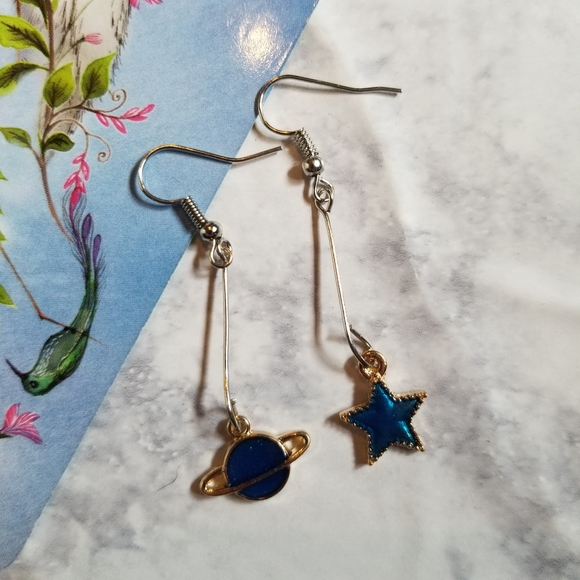 Hand Crafted Jewelry - SATURN STAR | Earrings Stainless Steel Cute Planet